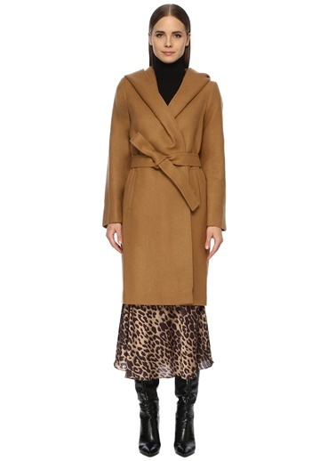 NetWork Kadın 1072668 Şal Yaka Manto Camel